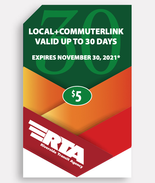 General 30 Day Pass | Commuter + Local ($5 Special) | LIMIT OF ONE PASS AND ONE ORDER PER CUSTOMER